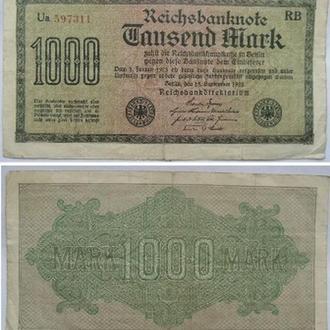 ГЕРМАНИЯ 1000 МАРОК . 15 СЕНТЯБРЯ 1922, ВОДЯНОЙ ЗНАК