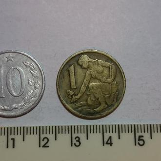 Чехословакія- подборка монет .- 2шт