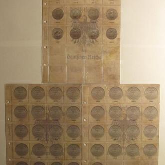 Комплект листов с разделителями для разменных монет Веймарской Республики 1919-1938гг