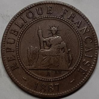 ФРАНЦУЗСКИЙ ИНДОКИТАЙ, 1 цент 1887 год СОСТОЯНИЕ!!!