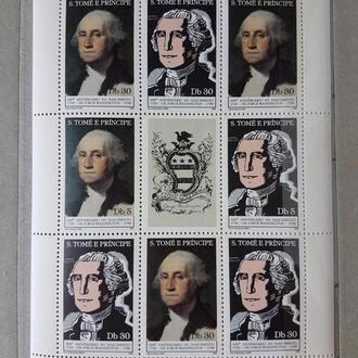 Сан Томе и Принсипи 1982 Джордж Вашингтон малый лист**