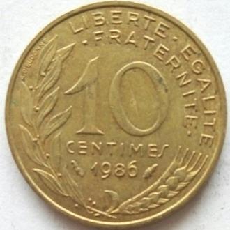 Франция 10 сантимов 1986