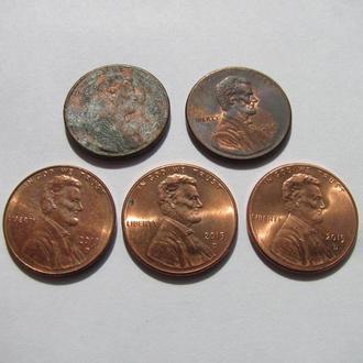 США USA Набор из 5 монет номиналом 1 цент 1994 D, 2002 D, 2013 D, 2015 D, Комплект монет одним лотом