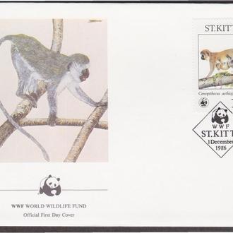 Сент-Киттс 1986 WWF ОБЕЗЬЯНЫ МАКАКИ МЛЕКОПИТАЮЩИЕ ФАУНА ДИКАЯ ПРИРОДА Четыре КПД Mi.184-187 EUR 45