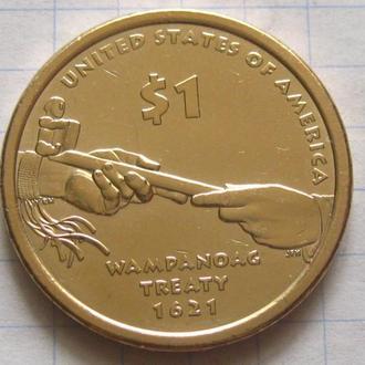 США_ 1 доллар 2011 года D  Сакагавея:  Трубка мира  оригинал