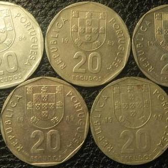 20 ескудо Португалія (порічниця) 5шт, всі різні