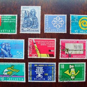 Швейцария.1959/62гг. Спорт, символы. Подборка. КЦ 6,50 евро!