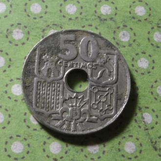 Испания 1949 год монета 50 сентимов !