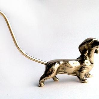 Винтажная фигурка статуэтка Собака Такса, латунь