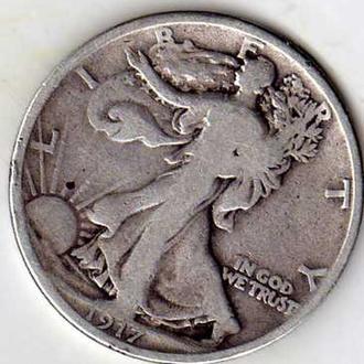 США 1\2 доллара 1917г