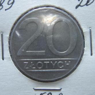 Монета 20 злотых Польша 1989