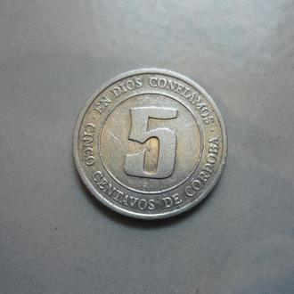 Никарагуа 5 сентаво 1974 KM#27 без легенды под гербом