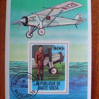 Верхняя Вольта (Буркина Фасо).1978г. История авиации. Почтовый блок.