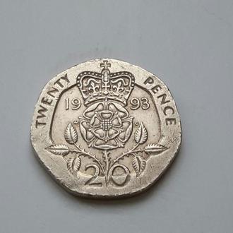 Великобритания. 20 пенсов  1993 год.