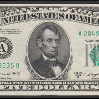 5 долларов США 1950 C Boston Federal Reserve UNC A ....8035 B (121)