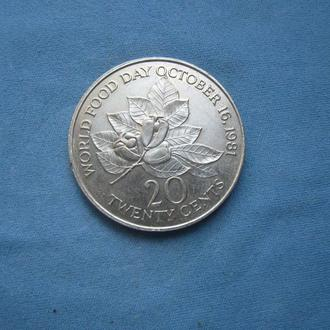 Ямайка 20 центов 1981 год