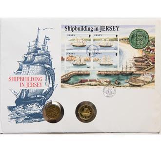 """Джерси 1 фунт 1991 и 1992 г., UNC, """"Парусное судно """"Percy Douglas"""" и Бриг """"Hebe'"""