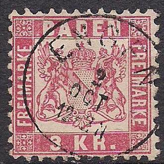 Баден, 1868 г., немецкие земли, марка № 24