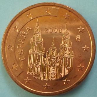 (А) Испания 5 евроцентов евро центов 2008