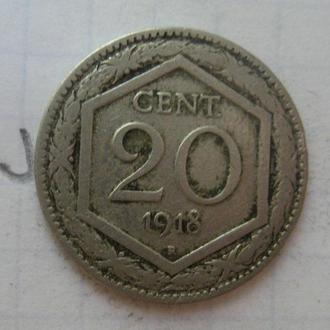 ИТАЛИЯ. 20 чентезимо 1918 года.