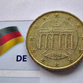 ГЕРМАНИЯ монета 50 евроцентов 2002 год (F)