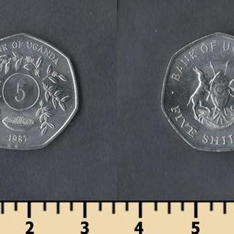Уганда 5 шиллингов 1987