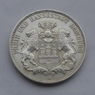 1909 г - 3 марки Германии,Гамбург,серебро № 2