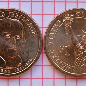 1 доллар 3-й президент США Т. Джеферсон 2007 г