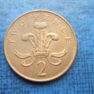 Монета 2 пенса Великобритания 1993