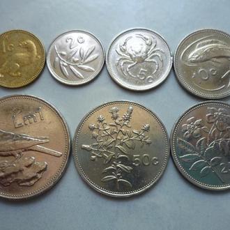 Мальта 1, 2, 5, 10, 25, 50 центов 1 лира 1986 ЮШ