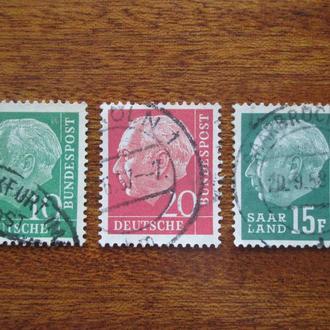 ФРГ.1954г. Стандартные марки. Подборка.