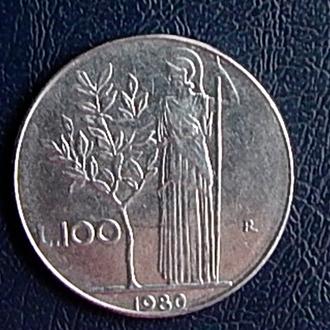 Монета в 100 лир 1980 г,Италия