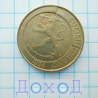 Монета Финляндия 1 марка 1994 немагнит №1