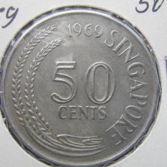монета 50 центов Сингапур 1969 фауна рыба
