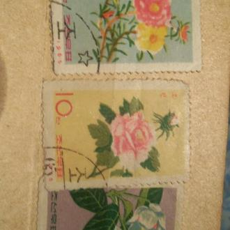 МАРКИ-Корея 3ш-(1)-фауна-цветы--1965г