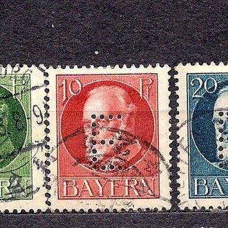 Бавария, немецкие земли, 1914-15гг., служебные марки