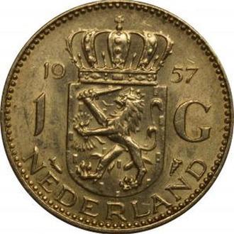 Нидерланды 1 гульден 1957 Серебро UNC