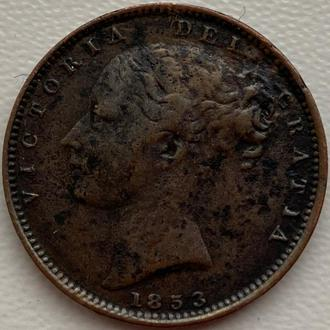 Англия 1 фартинг 1853 год Виктория СОСТОЯНИЕ!!!