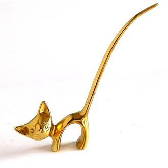 Коллекционная миниатюра фигурка Котик латунь Germany Fv8