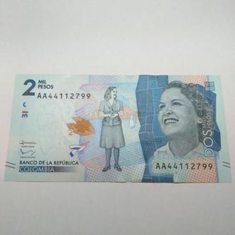 Колумбия, 2 песо, unc-a-unc, оригинал