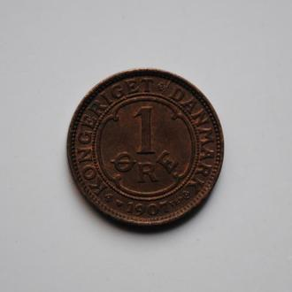 Дания 1 эре 1907 г., XF-UNC, 'Король Фредерик VIII (1906-1912)'