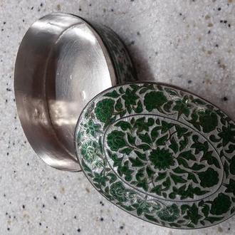 Шкатулка, серебро 925пр., эмаль, 115грамм