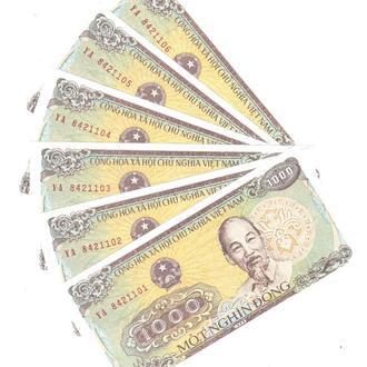 Вьетнам 1000 донг 1988 г. в UNC из пачки Pick 106a