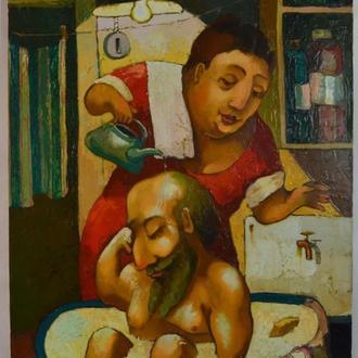 Подпись Вутянов А. ,,купання в ванной,, 2009. Холст, масло. Размеры 80х60 см.