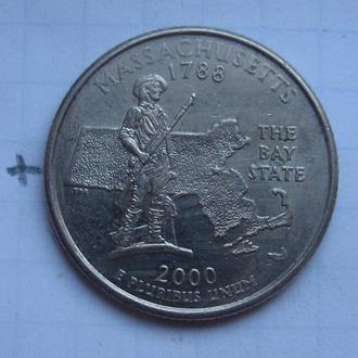 "США, 25 центов 2000 г. (ШТАТ МАССАЧУСЕТС) ""Р""."