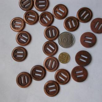 Пуговицы прочные металл, цвет меди, 21 штука