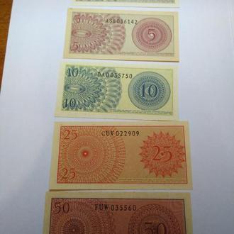 1, 2, 5, 10, 25, 50 сен, Индонезия, 1964, unc, пресс, оригинал