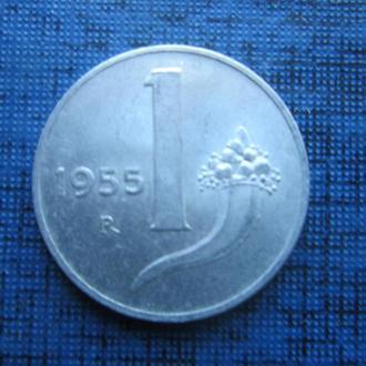 Монета 1 лира Италия 1955 состояние