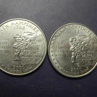 25 центів 2000 США  Нью-Гемпшір (два різновиди)