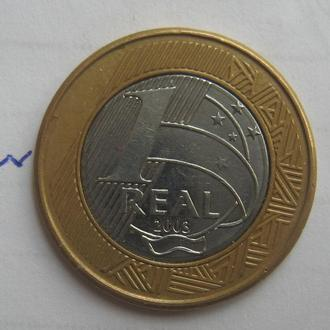 Бразилия, 1 реал 2003 года (БИМЕТАЛЛ).